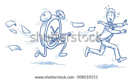 Running out of time - stressed business man being chased by a clock, hand drawn doodle vector illustration - stock vector