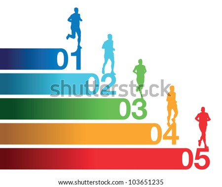 running people - stock vector