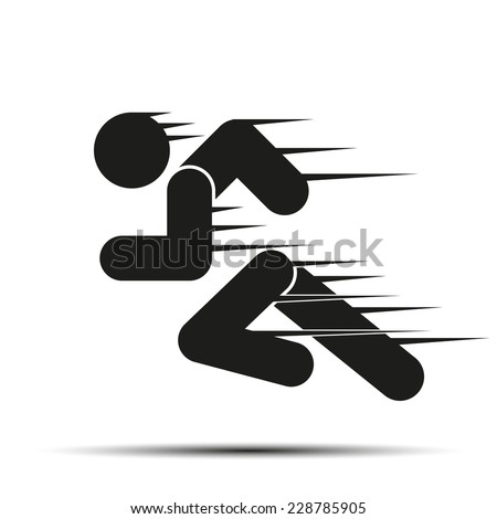 Running people in motion. Simple symbol of run isolated on a white background. Vector Illustration. - stock vector