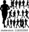 running people set vector 2 - stock vector