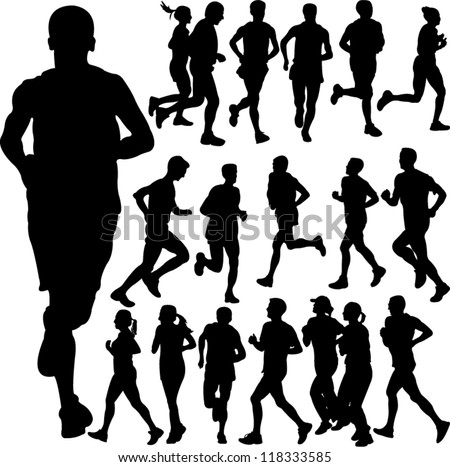 running people set vector 2 - stock vector