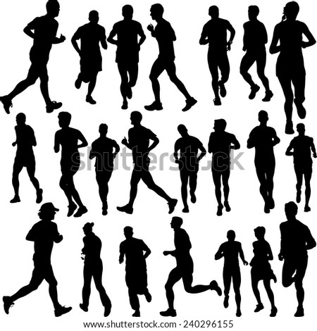 running people set - vector