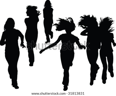 running people silhouette - vector - stock vector