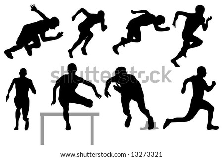 Running people - Silhouettes - stock vector