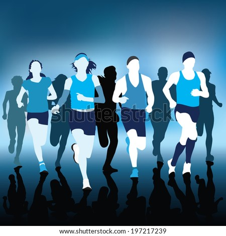 Running people silhouettes Vector Illustration - stock vector