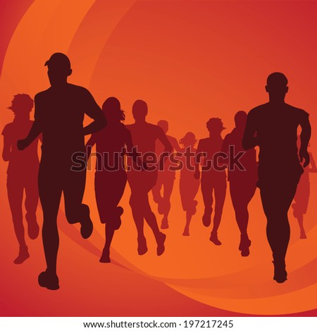 Running people silhouettes Vector Illustration