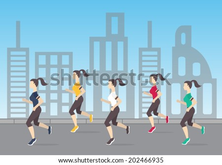 Running people silhouettes. Women running on the city street. Morning jogging. Vector illustration  - stock vector