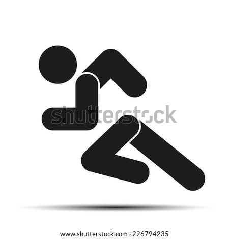 Running people. Simple symbol of run isolated on a white background. Vector Illustration. - stock vector