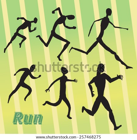 Running people. Vector collection of symbols. Simple black silhouettes
