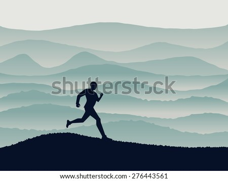 Running person silhouette, jogging concept with runner and beautiful scenery, vector illustration. - stock vector