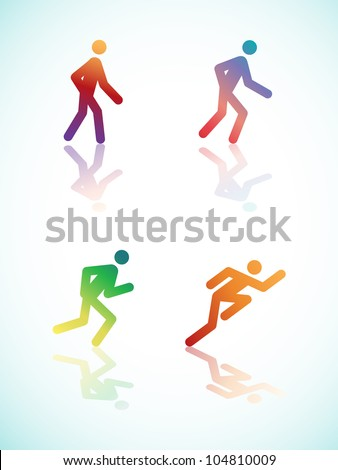 Running Pictograms With Reflections - Vector Illustrations - stock vector