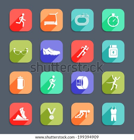 Running race sport activity icons set of exercises cross training flat  icons isolated vector illustration - stock vector