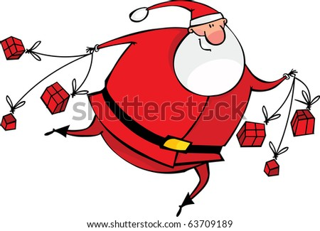 Running Santa with gifts - stock vector