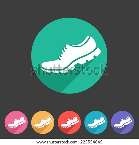 Running shoe, sneaker, trainer flat icon - stock vector