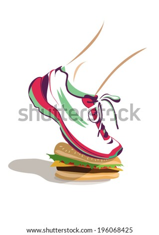 Running shoe stamping on burger - stock vector