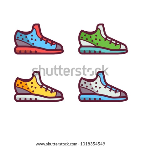 Running shoes in flat design. Modern sport sneakers icons.