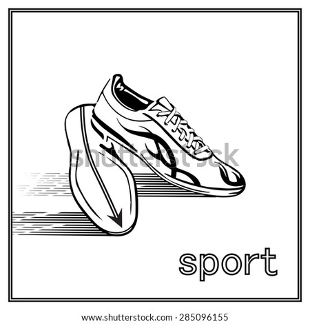 Running shoes on white background. Vector Illustration.