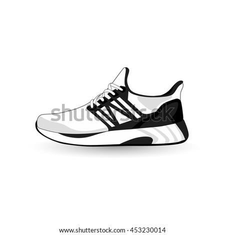 running shoes sport shoes vector stock vector 453230014 shutterstock rh shutterstock com running shoe vector art running shoe vector art