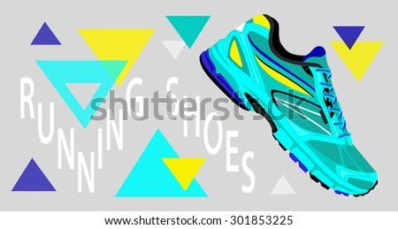 running shoes. vector - stock vector