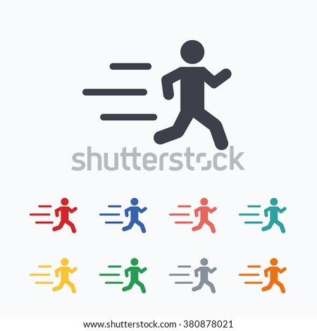 Running sign icon. Human sport symbol. Colored flat icons on white background. - stock vector