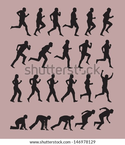 Running Silhouettes - stock vector