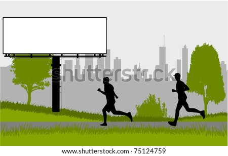 Running - silhouettes of men in the park - stock vector