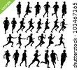 Running silhouettes vector - stock vector