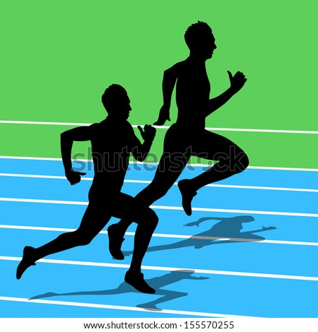 Running silhouettes. Vector illustration. - stock vector