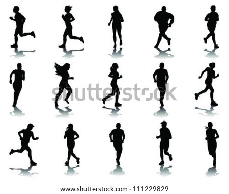 Running silhouettes with shadows 10-vector