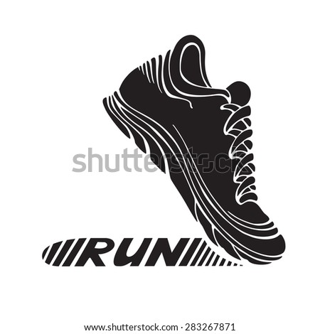 "Running sport shoe symbol. Sport icon isolated on white background. Text ""RUN"" on its sole. - stock vector"