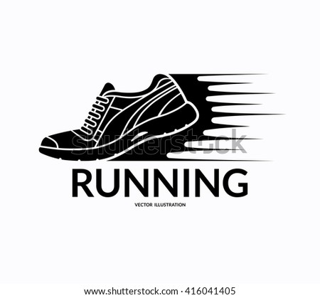 Running sports shoe icon, symbol or sign.  Training sneaker silhouette with motion trails. Vector illustration isolated on white background - stock vector
