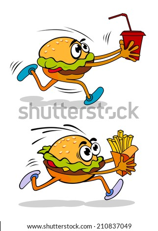 Running takeaway cartoon burger in two variations, one carrying a soda in a cup and the other a packet of French fries, vector illustration on white - stock vector