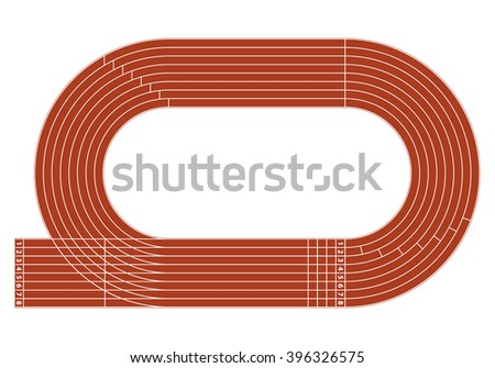 Running track on stadium with lane and numbers. - stock vector