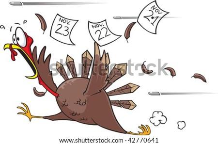 Running Turkey - stock vector