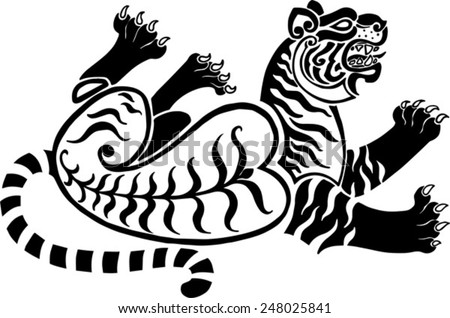 running twisted a tiger in Scythian tattoo's  style - stock vector