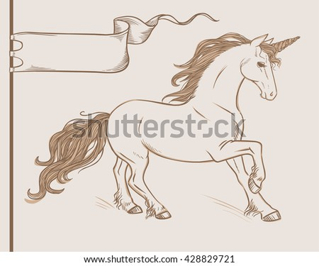 Running unicorn in vintage style. Vector hand drawn illustration