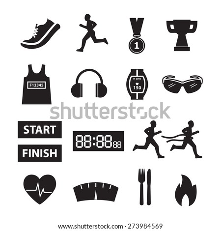 Running vector,running icon set - stock vector