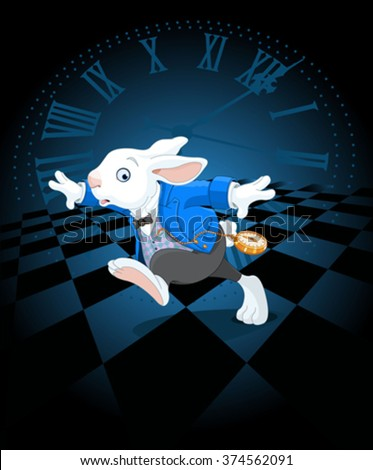 Running White Rabbit with pocket watch - stock vector