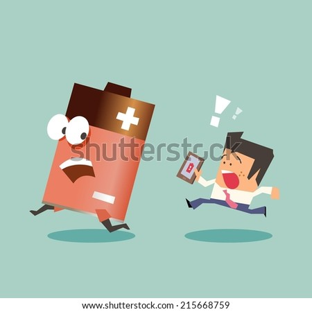 Running with battery life. Flat vector illustration - stock vector