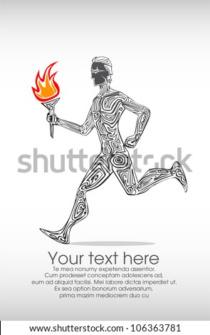 Running with flame background - stock vector