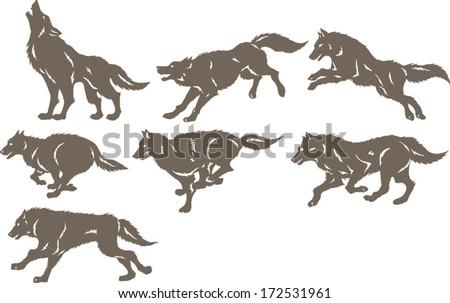 Running wolves - stock vector