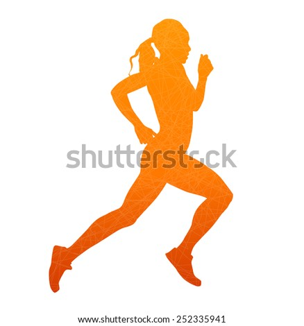 Running woman. Abstract isolated vector silhouette - stock vector
