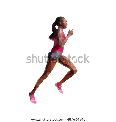 Running woman abstract polygonal silhouette. Individual summer sport. Slim girl