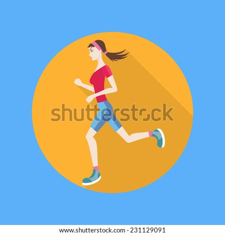 Running woman in flat design style. Keeping fit exercises and jogging - stock vector