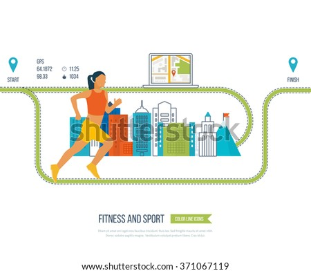 Running woman. Modern flat vector icons of healthy lifestyle, fitness and physical activity. Healthy lifestyle and fitness concept. Mobile gps navigation on laptop with map vector illustration.  - stock vector