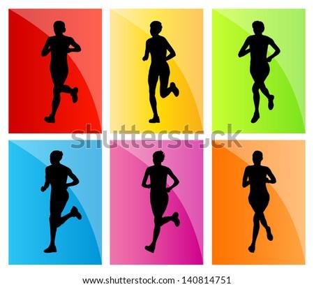 Running woman set vector background - stock vector