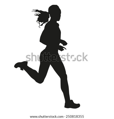 Running woman silhouette - stock vector