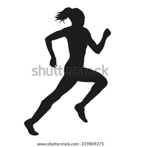 Running woman vector silhouette - stock vector