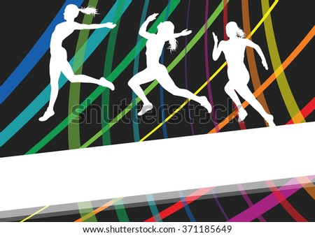 Running woman young active and healthy sport silhouettes vector background illustration concept