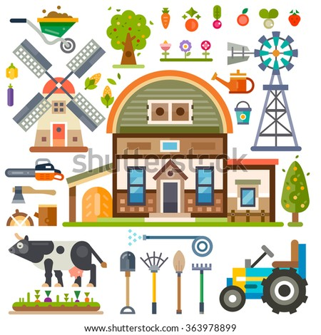 Rural agricultural isolated pictures set: farm house, tools, tractor, windmill, plants, vegetables, broom, shovel, axe, firewood, chainsaw, cow, farm animals. Flat vector stock illustration.  - stock vector